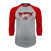 Grey/Red Raglan Baseball T Shirt-Rio Grande Baseball
