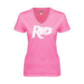 Next Level Ladies Junior Fit Ideal V Pink Tee-Rio