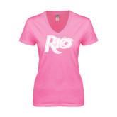 Next Level Ladies Junior Fit Deep V Pink Tee-Rio