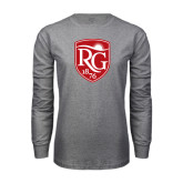 Grey Long Sleeve T Shirt-Shield Logo