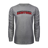 Grey Long Sleeve T Shirt-Arched RedStorm Bottom