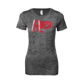 Next Level Ladies Junior Fit Dark Grey Burnout Tee-Rio Foil