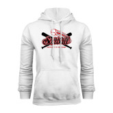 White Fleece Hoodie-Softball Crossed Bats