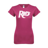 Ladies SoftStyle Junior Fitted Fuchsia Tee-Rio