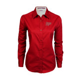 Ladies Red Twill Button Down Long Sleeve-Rio