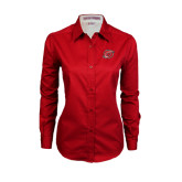 Ladies Red Twill Button Down Long Sleeve-Cyclone O
