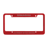 Metal Red License Plate Frame-Grandma