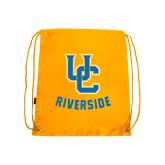 Gold Drawstring Backpack-Interlocking UC Riverside