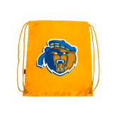 Gold Drawstring Backpack-Highlander Bear