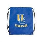 Royal Drawstring Backpack-Interlocking UC Riverside
