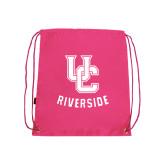 Pink Drawstring Backpack-Interlocking UC Riverside