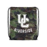Camo Drawstring Backpack-Interlocking UC Riverside