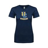 Next Level Ladies SoftStyle Junior Fitted Navy Tee-Interlocking UC Riverside