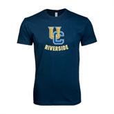 Next Level SoftStyle Navy T Shirt-Interlocking UC Riverside