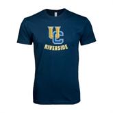 Next Level SoftStyle Navy T Shirt-Interlocking UC Riverside