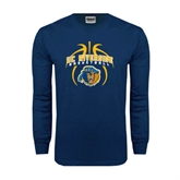 Navy Long Sleeve T Shirt-Graphics inside Basketball