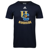 Adidas Climalite Navy Ultimate Performance Tee-Interlocking UC Riverside w/Bear Head