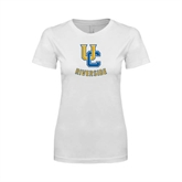 Next Level Ladies SoftStyle Junior Fitted White Tee-Interlocking UC Riverside