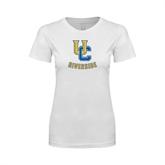 Next Level Ladies SoftStyle Junior Fitted White Tee-Interlocking UC Riverside