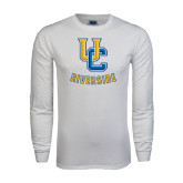 White Long Sleeve T Shirt-Interlocking UC Riverside