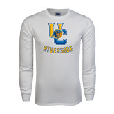 White Long Sleeve T Shirt-Interlocking UC Riverside w/Bear Head