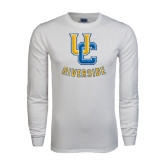 White Long Sleeve T Shirt-Interlocking UC Riverside Distressed