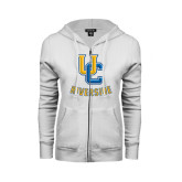 ENZA Ladies White Fleece Full Zip Hoodie-Interlocking UC Riverside