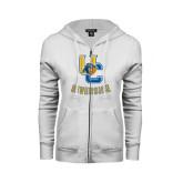 ENZA Ladies White Fleece Full Zip Hoodie-Interlocking UC Riverside w/Bear Head