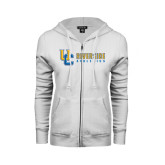 ENZA Ladies White Fleece Full Zip Hoodie-Interlocking UC Riverside Side Version