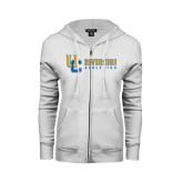 ENZA Ladies White Fleece Full Zip Hoodie-Interlocking UC Riverside Side Version