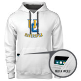 Contemporary Sofspun White Hoodie-Interlocking UC Riverside