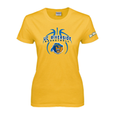 Ladies Gold T Shirt-Graphics inside Basketball