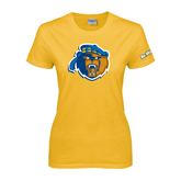 Ladies Gold T Shirt-Highlander Bear