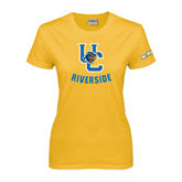 Ladies Gold T Shirt-Interlocking UC Riverside w/Bear Head