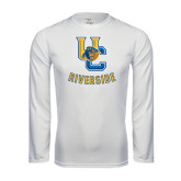 Performance White Longsleeve Shirt-Interlocking UC Riverside w/Bear Head