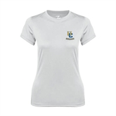Ladies Syntrel Performance White Tee-Interlocking UC Riverside