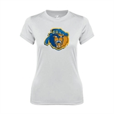 Ladies Syntrel Performance White Tee-Highlander Bear