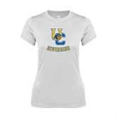 Ladies Syntrel Performance White Tee-Interlocking UC Riverside w/Bear Head