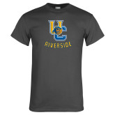 Charcoal T Shirt-Interlocking UC Riverside w/Bear Head