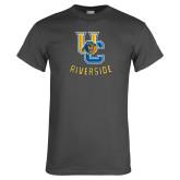 Charcoal T Shirt-Interlocking UC Riverside w/Bear Head