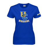 Ladies Royal T Shirt-Interlocking UC Riverside w/Bear Head