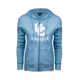 ENZA Ladies Light Blue Fleece Full Zip Hoodie-Interlocking UC Riverside