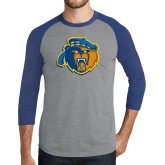 Grey/Royal Heather Tri Blend Baseball Raglan-Highlander Bear