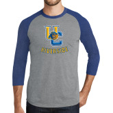 Grey/Royal Heather Tri Blend Baseball Raglan-Interlocking UC Riverside w/Bear Head