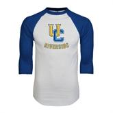 White/Royal Raglan Baseball T Shirt-Interlocking UC Riverside Distressed