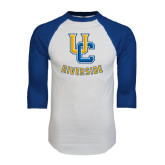White/Royal Raglan Baseball T Shirt-Interlocking UC Riverside