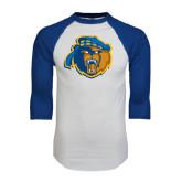 White/Royal Raglan Baseball T Shirt-Highlander Bear