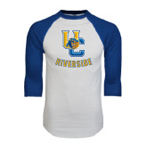 White/Royal Raglan Baseball T Shirt-Interlocking UC Riverside w/Bear Head