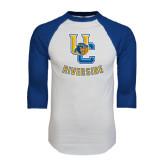 White/Royal Raglan Baseball T Shirt-Interlocking UC Riverside w/Bear Head