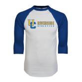 White/Royal Raglan Baseball T Shirt-Interlocking UC Riverside Side Version
